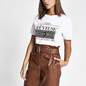 T-shirt imprimé à logo RI blanc