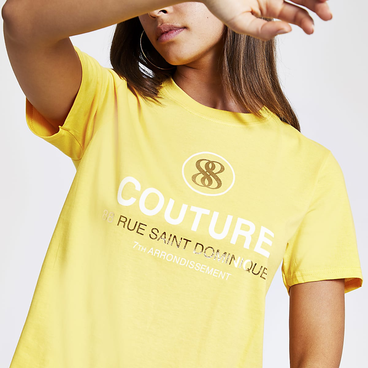 Yellow printed cropped T-shirt