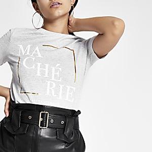 Grijs T-shirt met 'Ma Cherie'-print