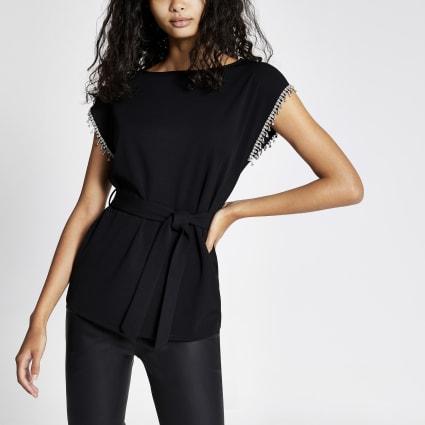 Black diamante sleeve belted top