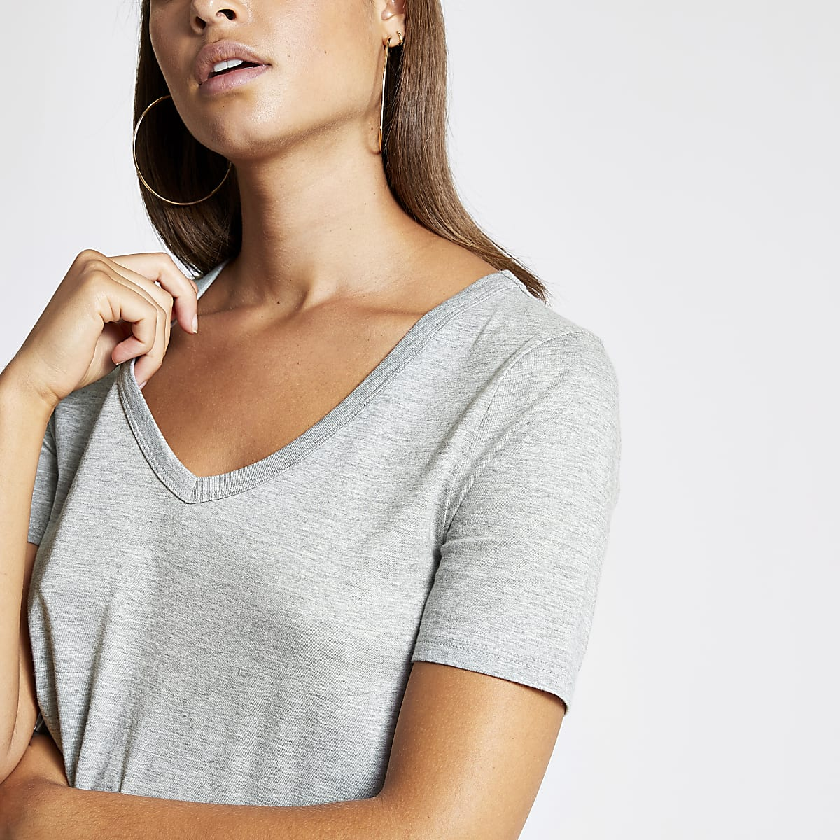 Grey V neck short sleeve T-shirt