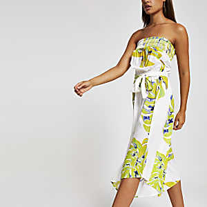 Lime green bardot beach culotte jumpsuit