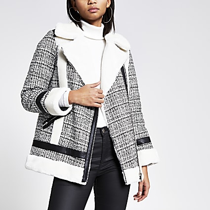 Cream boucle faux fur aviator jacket