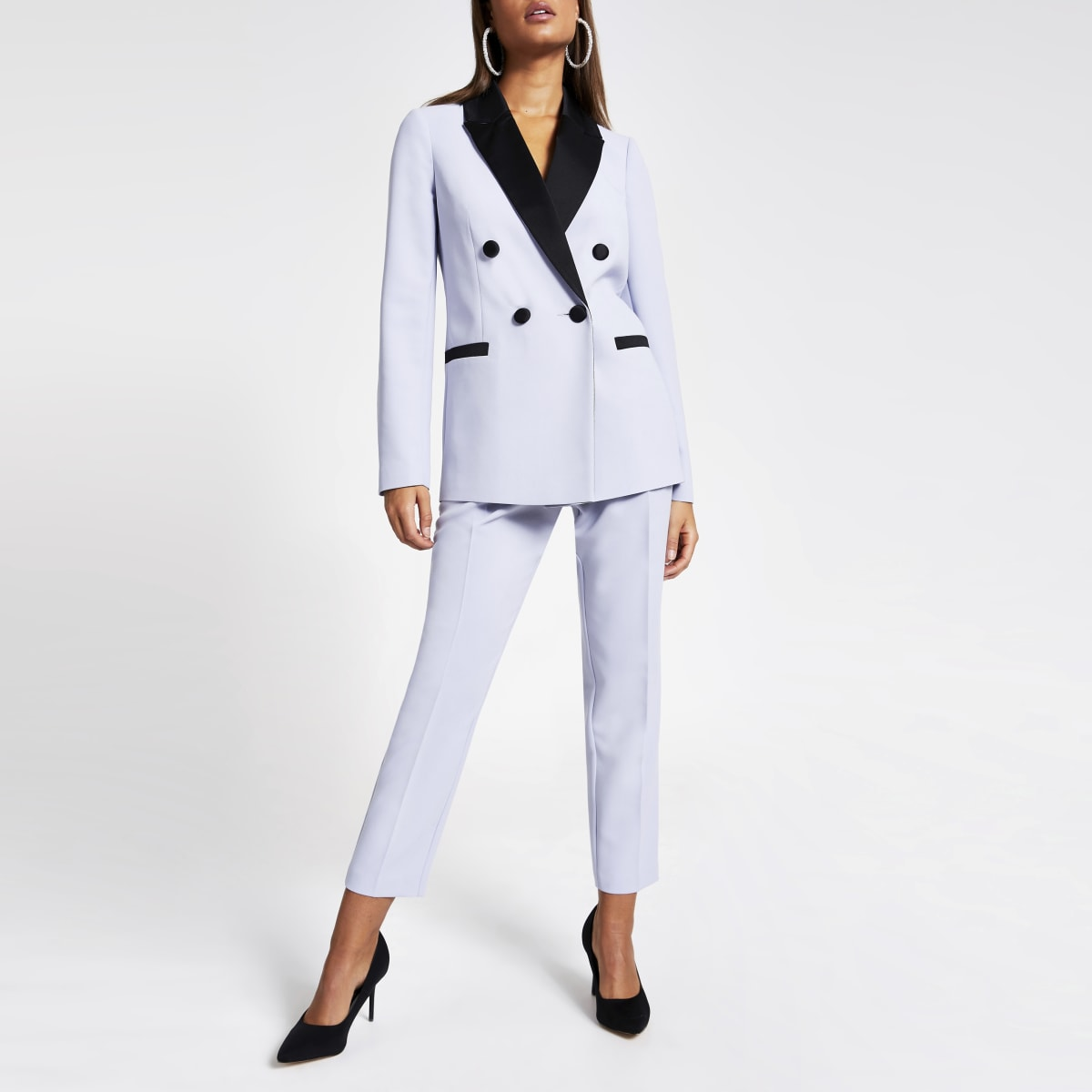 Blue satin lapel double breasted blazer