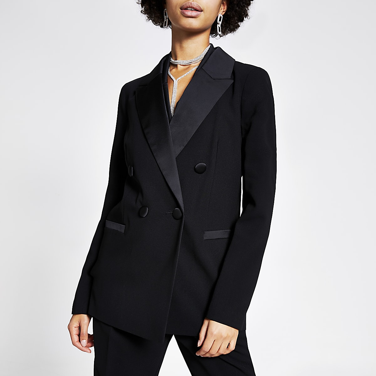 Black double breasted satin lapel blazer