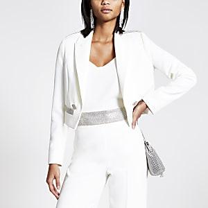 Blazer court blanc avec pocheà strass
