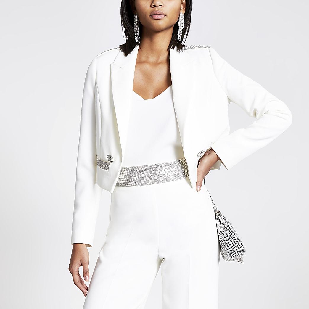 White diamante pocket cropped blazer