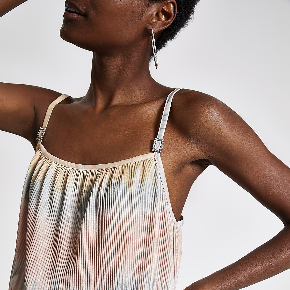 Roze geplooide camitop met tie-dye print