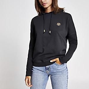 Donkergrijze hoodie met vleermuismouwen