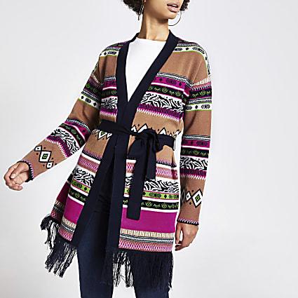 Pink aztec tie belted tassel hem cardigan