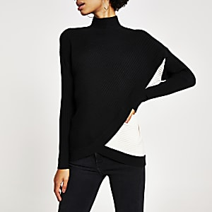 Black blocked wrap front ribbed knit top