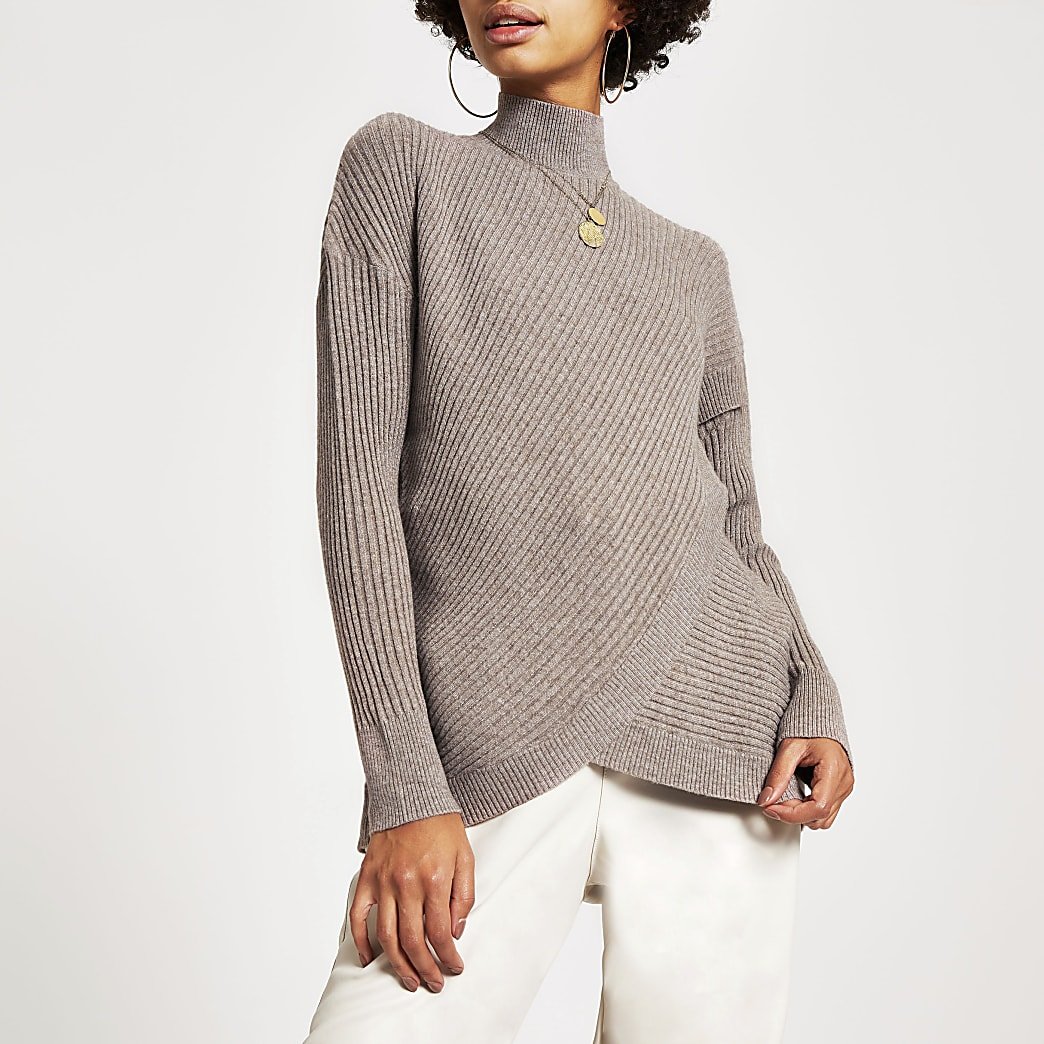 Beige wrap front rib knitted jumper