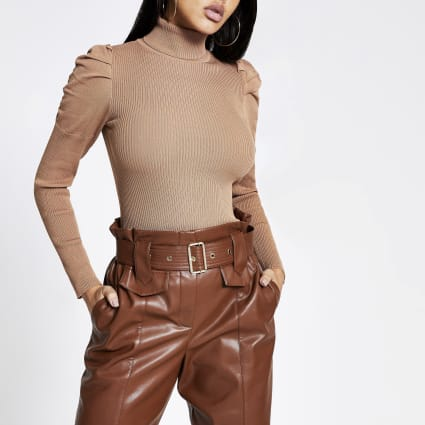 Brown pull sleeve roll neck knitted jumper