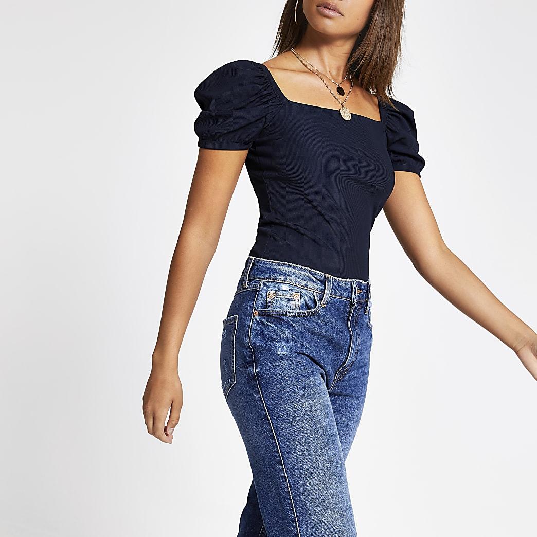 Marineblauw geribbeld T-shirt met korte pofmouwen
