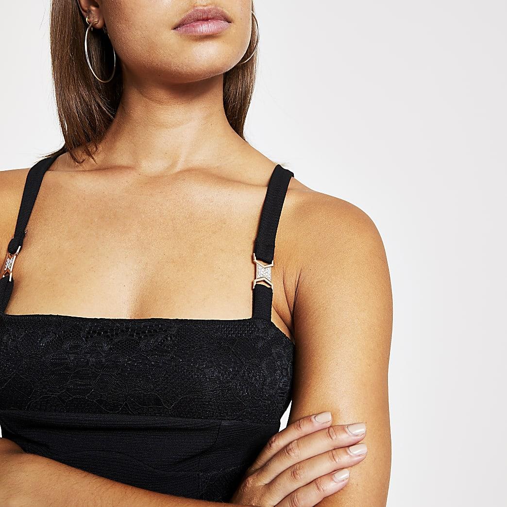 Black lace trim bodysuit