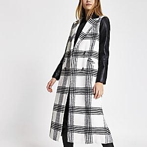 Manteau long crèmeà carreaux avec PU contrastant