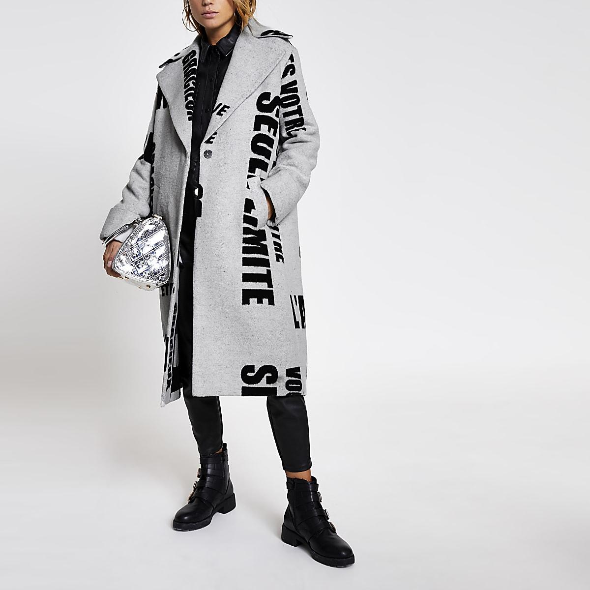 Grey slogan printed longline coat