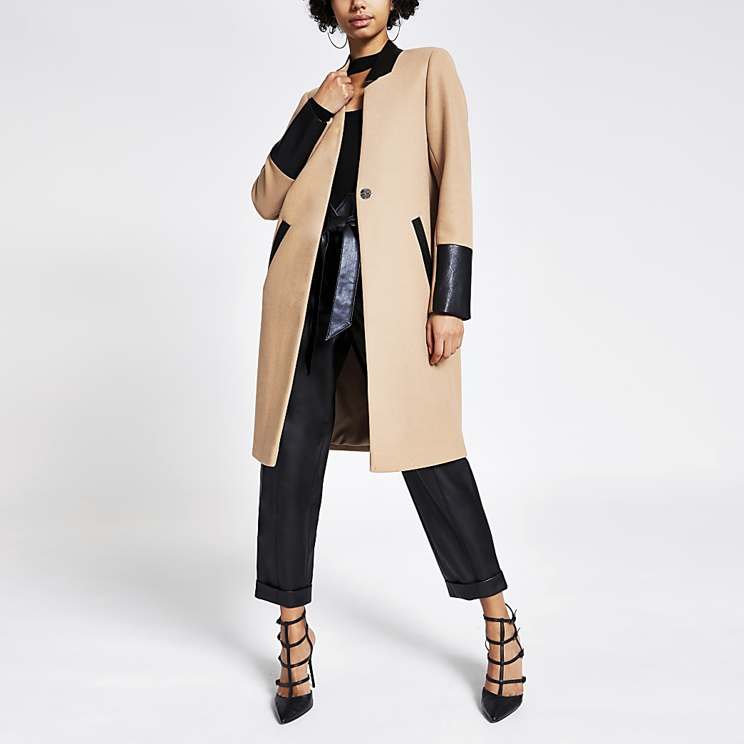 Beige PU colour blocked longline coat