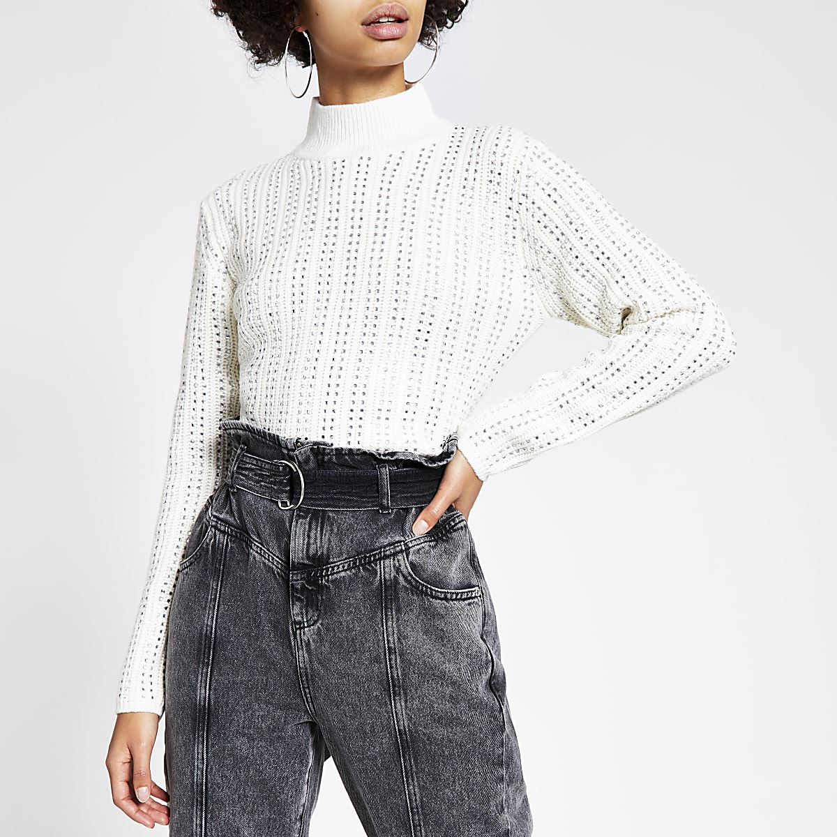 Cream diamante cropped knitted jumper