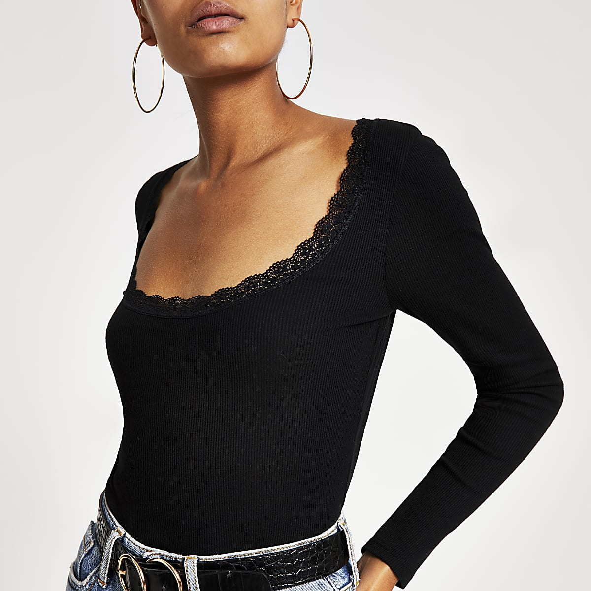 Black lace neck fitted long sleeve ribbed top