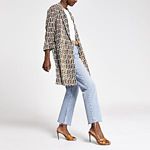 Cream RI print long duster