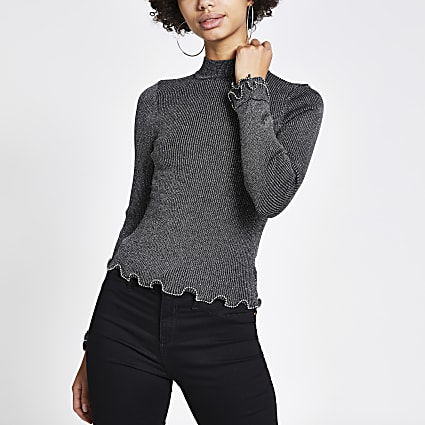 Silver long sleeve frill trim fitted knit top