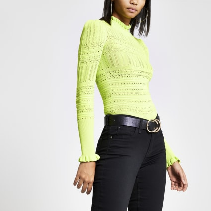 Neon yellow frill trim knitted top