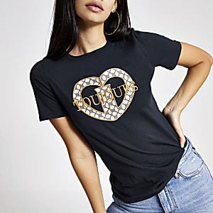 "Marineblaues T-Shirt mit ""Toujours""-Stickerei"