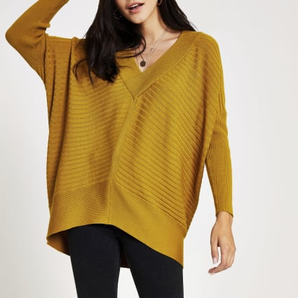 Yellow V neck ribbed knitted jumper