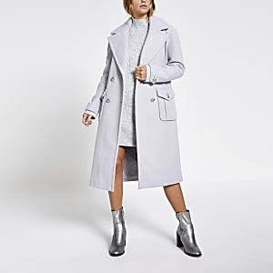 Grey double breasted longline utility coat