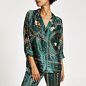 Green printed satin family pyjama shirt