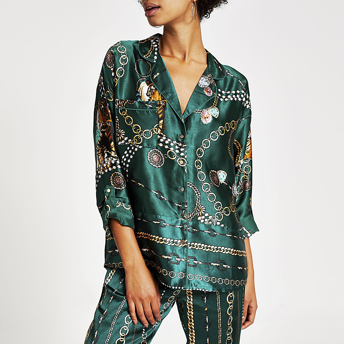 Green printed satin twinning pyjama shirt