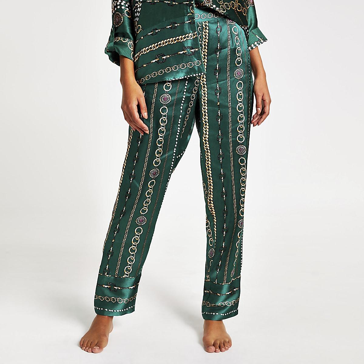 Groene satijnen twinning pyjamabroek met print