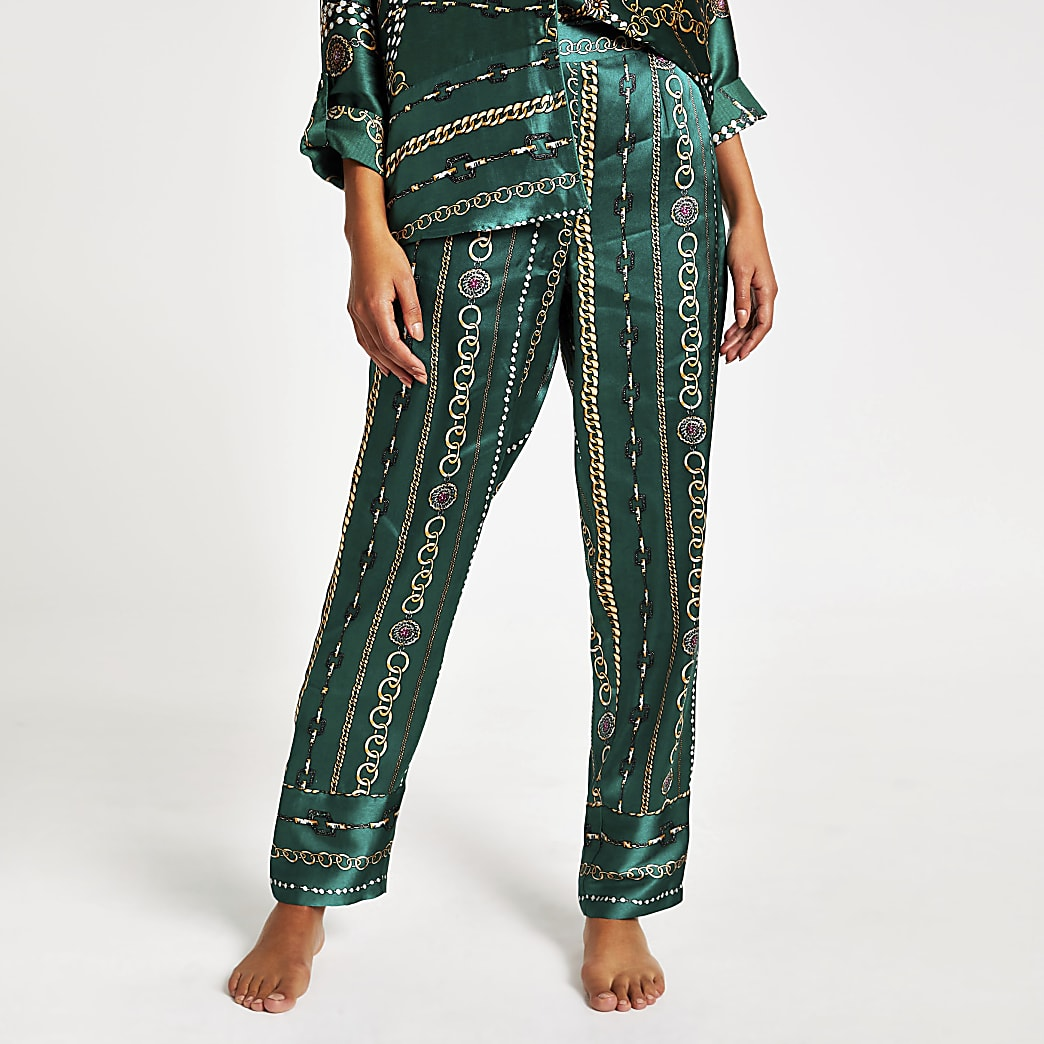 Green printed satin family pyjama trousers