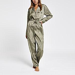 Kaki jacquard pyjama-jumpsuit