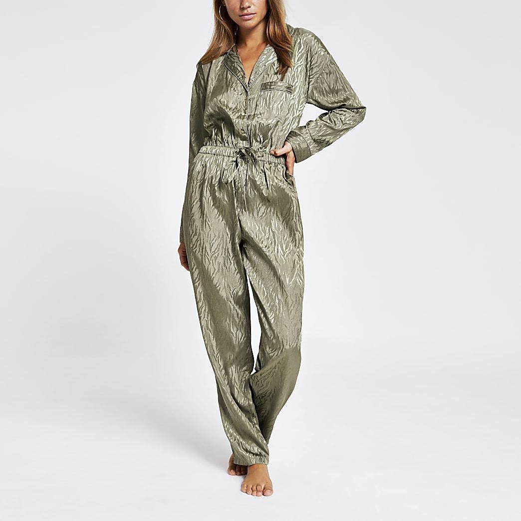 Khaki jacquard pyjama boiler jumpsuit