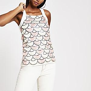 Pink fringe embellished vest