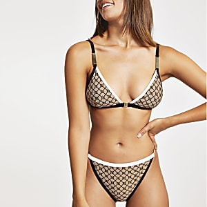 Haut de bikini triangle imprimé marron, monogrammes RI