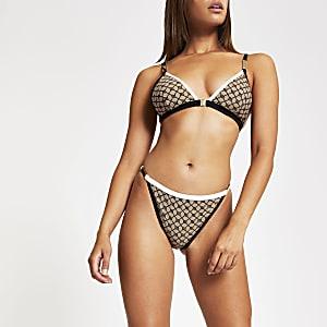 Braune Bikinihose mit hohem Beinausschnitt und RI-Logo
