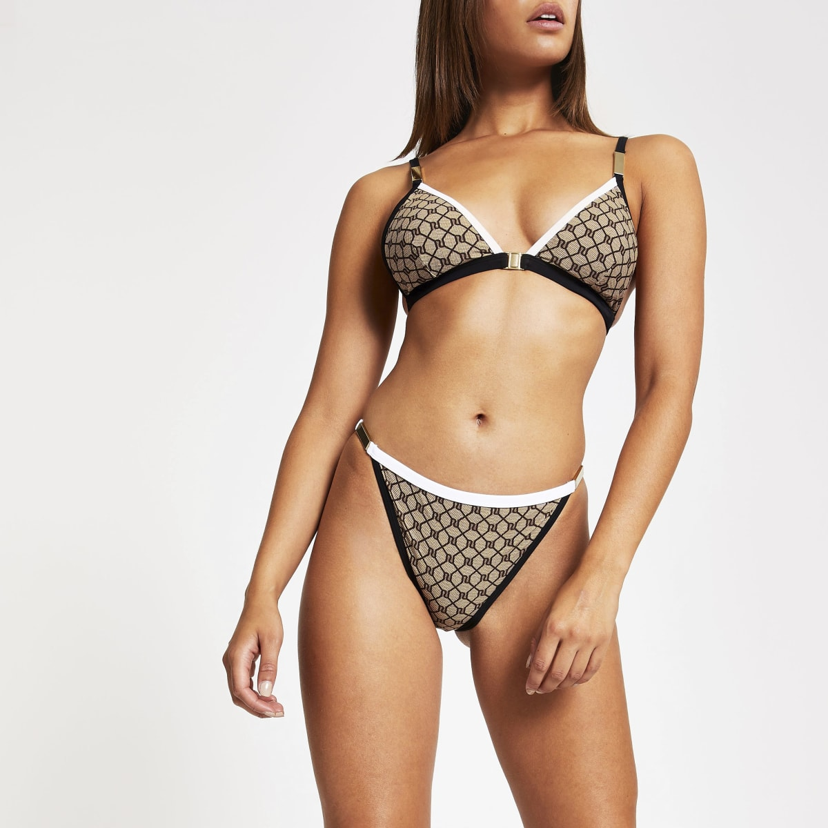 Brown RI monogram high leg bikini bottoms
