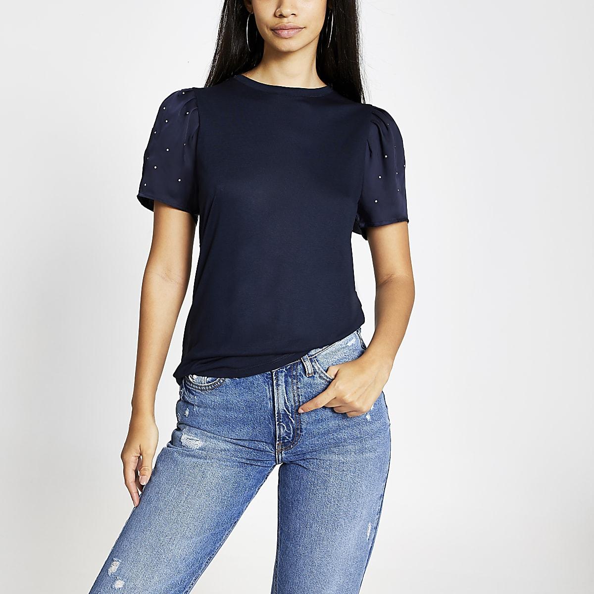 Navy embellished puff sleeve T-shirt