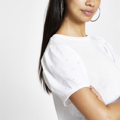 White Embellished Puff Sleeve T Shirt by River Island