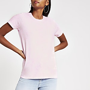 T-shirt effet tie and dye rose