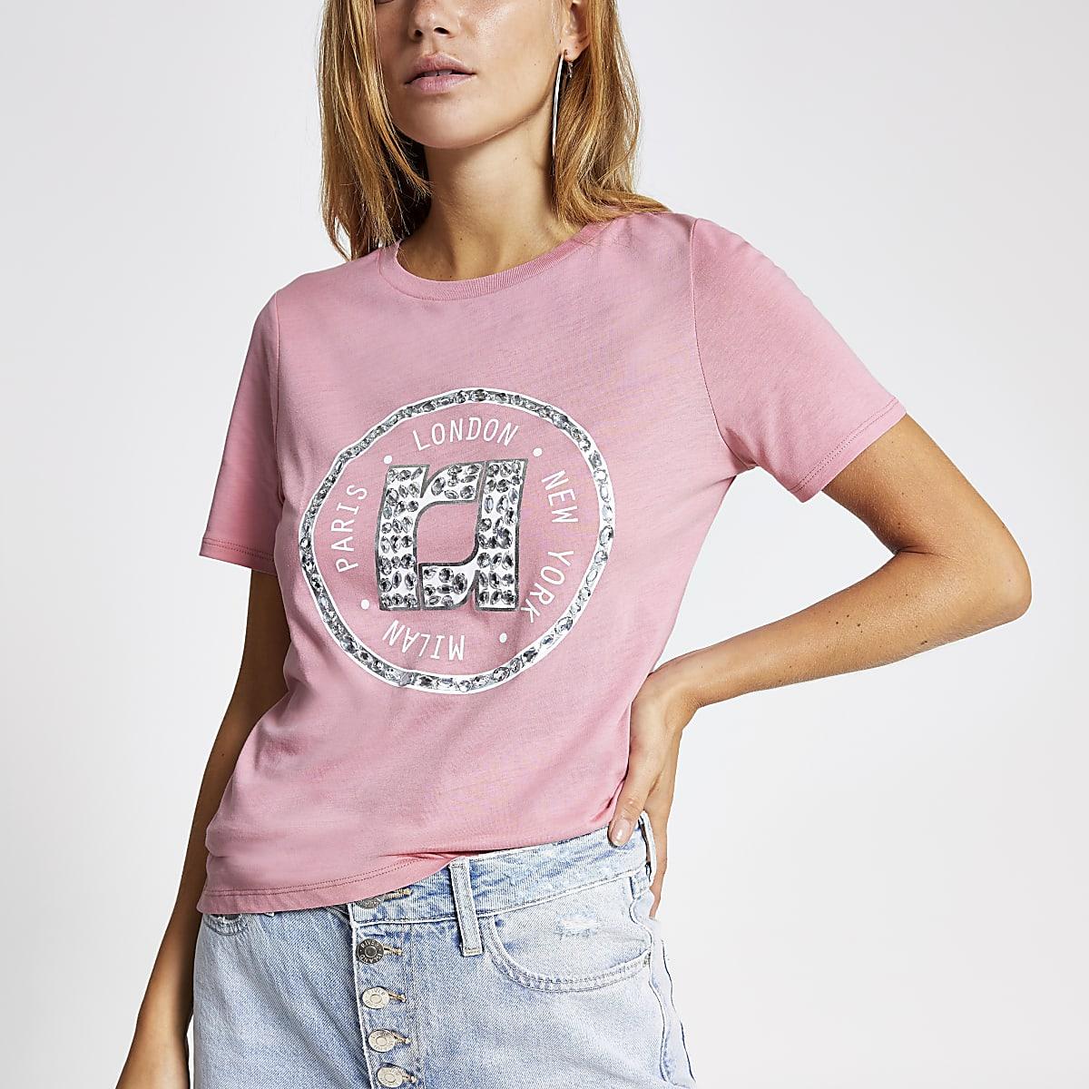 Pink embellished T-shirt