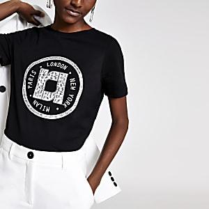 Zwart versierd T-shirt met print