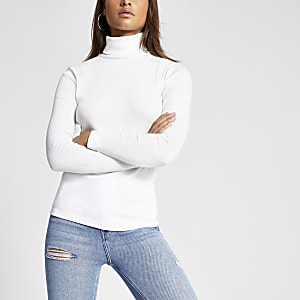 Cream long sleeve roll neck ribbed top