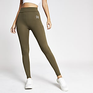 Khaki RI fold over leggings