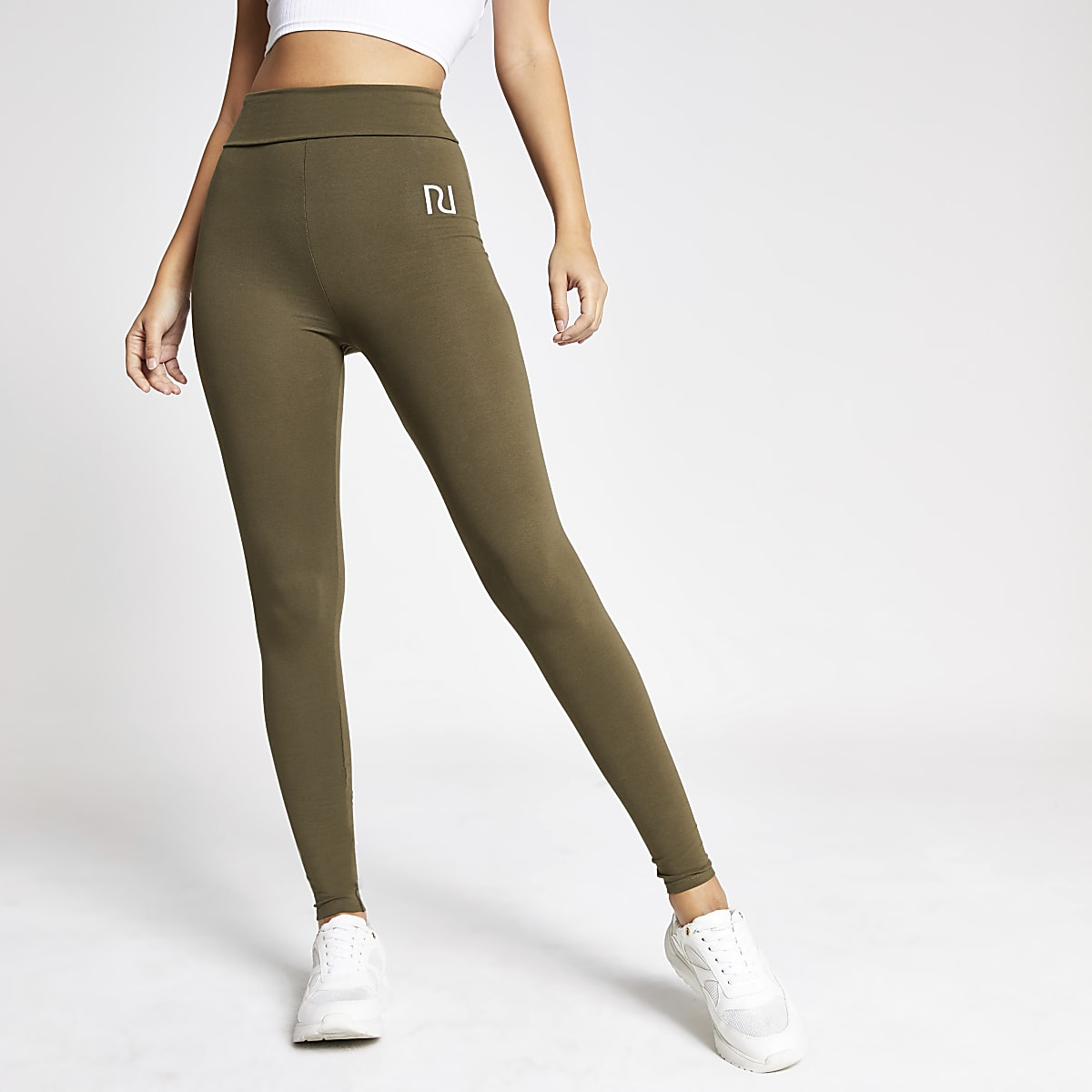 Khaki RI fold over leggings