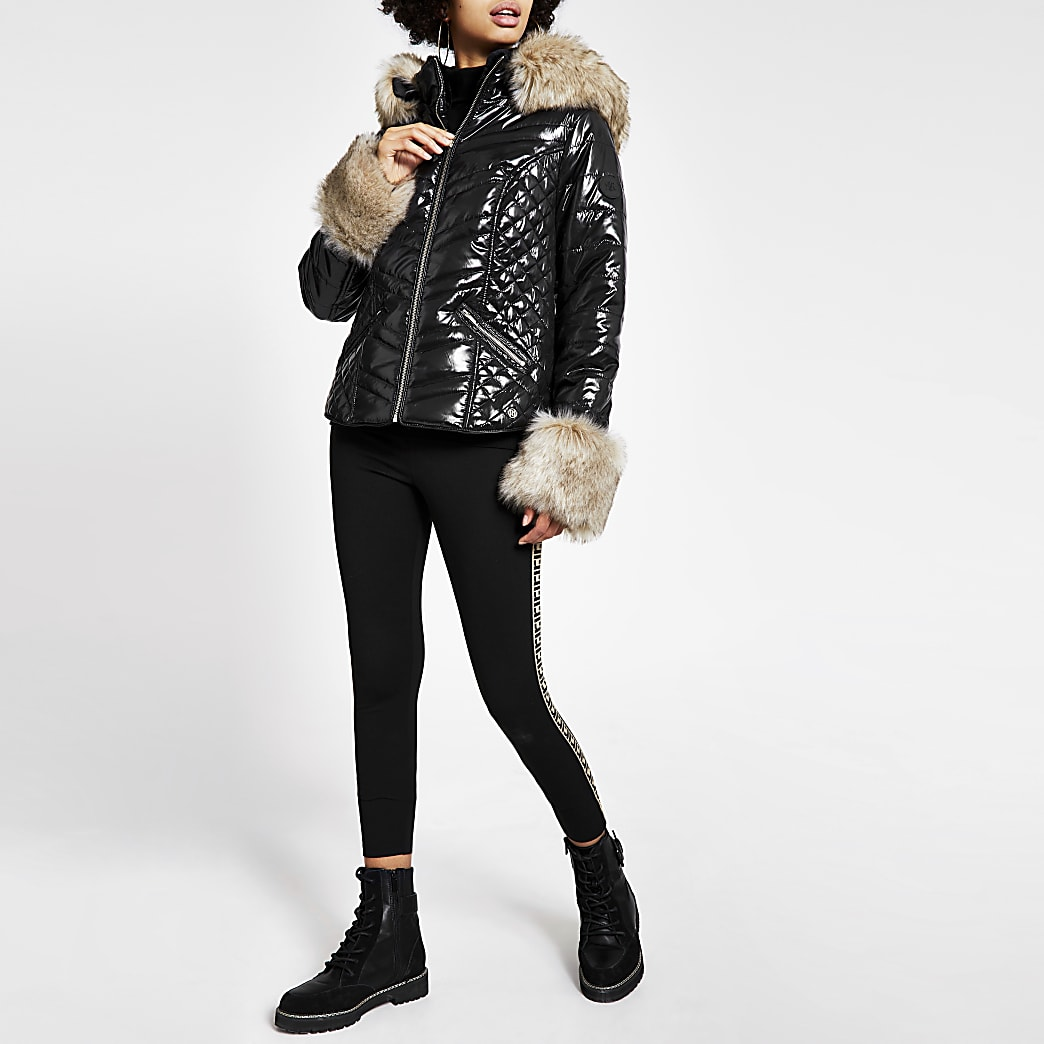 Black faux fur cuff high shine padded coat