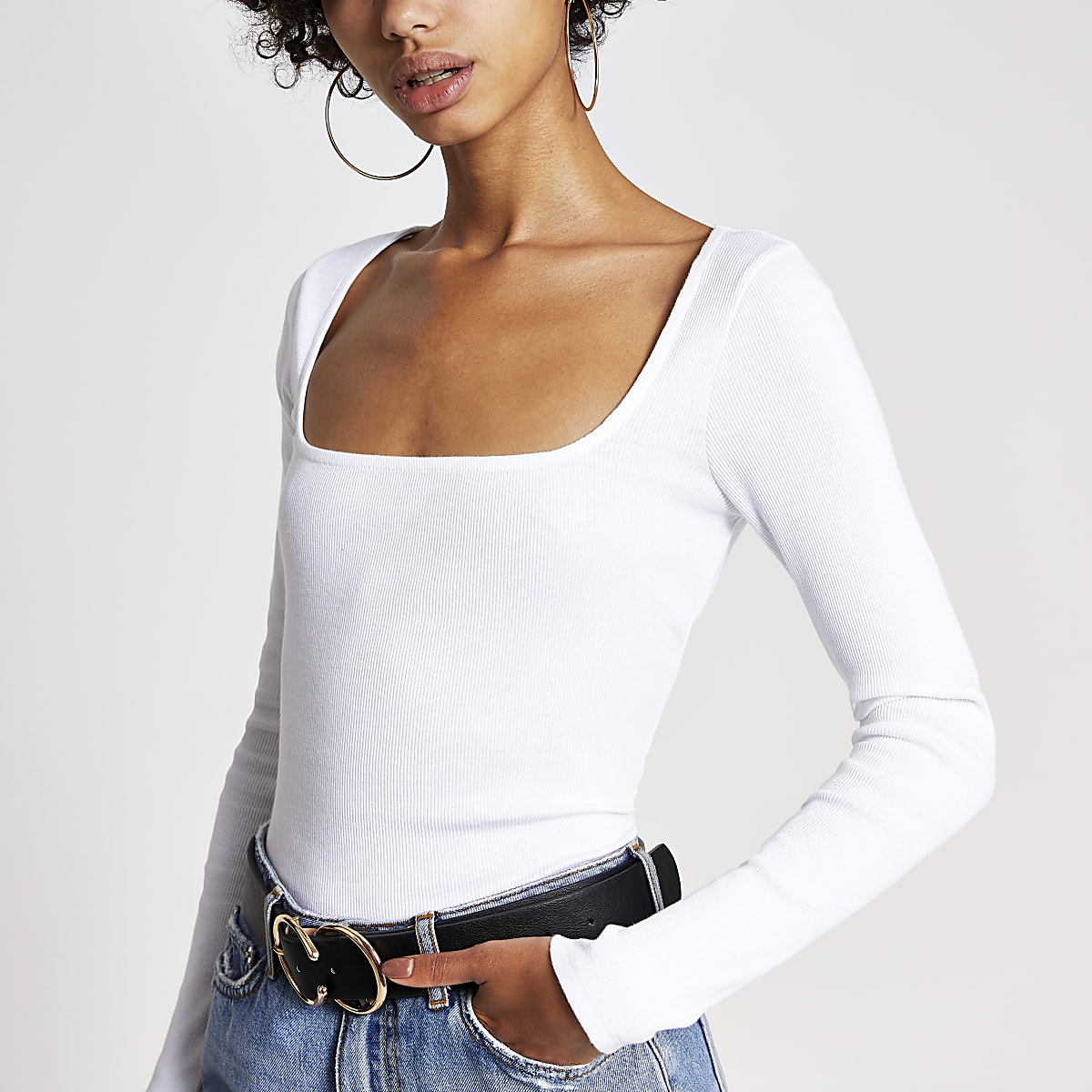 White ribbed square neck top